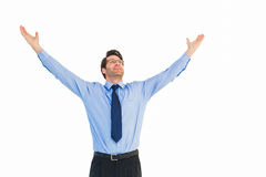Hombre de negocios que anima con sus brazos aumentados para arriba Fotografía de archivo libre de regalías