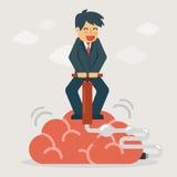 Hombre de negocios que bombea para arriba el cerebro Ejemplo del concepto de la idea y de la mente stock de ilustración