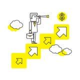 Hombre de negocios que busca para las oportunidades Ejemplo plano del vector Concepto del asunto Imagen de archivo