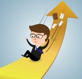 Hombre de negocios que cae abajo en el gráfico de la flecha que va abajo, concepto del negocio, vector Foto de archivo