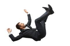 Hombre de negocios que cae y de griterío Fotos de archivo