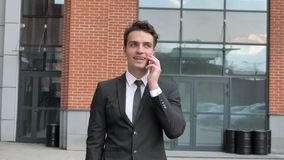 Hombre de negocios que camina Discussing en el teléfono, Neogtiation metrajes