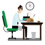 Hombre de negocios que cena en lugar de trabajo ilustración del vector