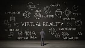 Hombre de negocios que coloca la pared negra, concepto de la escritura de la 'realidad virtual' con el icono digital libre illustration
