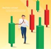 Hombre de negocios que corre con el fondo de la carta de la palmatoria, concepto de mercado de acción, ejemplo del vector libre illustration