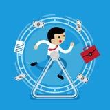 Hombre de negocios que corre en la rueda ilustración del vector
