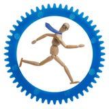 Hombre de negocios que corre en rueda dentada Imágenes de archivo libres de regalías