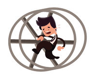 Hombre de negocios que corre en un personaje de dibujos animados del ejemplo del lazo Imágenes de archivo libres de regalías