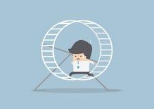 Hombre de negocios que corre en una rueda del hámster stock de ilustración