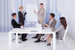 Hombre de negocios que da la presentación a los colegas en oficina Foto de archivo libre de regalías