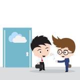Hombre de negocios que da las llaves para el compartir archivos en la nube que computa con el cliente, vector del ejemplo en dise ilustración del vector