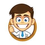 Hombre de negocios que da los pulgares para arriba en marco redondo stock de ilustración