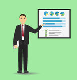 Hombre de negocios que da una presentación con la bandera Infographic en tablero de la oficina Concepto del asunto Imagenes de archivo