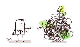 Hombre de negocios que desenreda un nudo con la hoja verde stock de ilustración