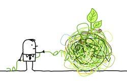Hombre de negocios que desenreda un nudo verde ilustración del vector