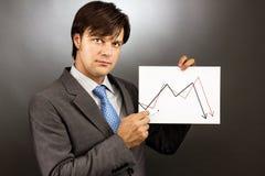 Hombre de negocios que dibuja un gráfico que cae del mercado de acción Imagen de archivo libre de regalías