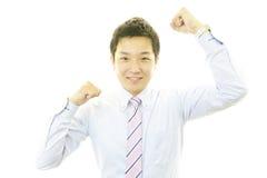 Hombre de negocios que disfruta de éxito Imagen de archivo