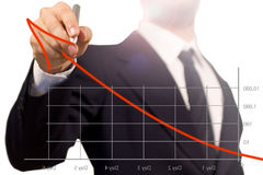 Hombre de negocios que drena una flecha de aumento en un successf Foto de archivo