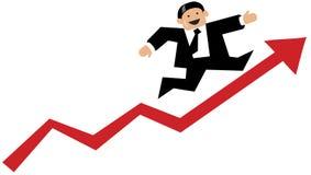 Hombre de negocios que ejecuta para arriba una flecha roja Imagen de archivo