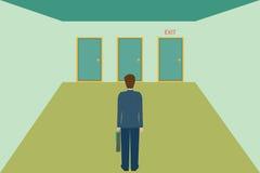 Hombre de negocios que elige la puerta de salida Fotos de archivo