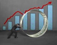 Hombre de negocios que empuja el círculo del dinero con el crecimiento de la flecha y del carbón de leña rojos Fotos de archivo libres de regalías