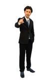 Hombre de negocios que empuja la pantalla manualmente Imagenes de archivo
