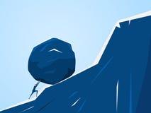 Hombre de negocios que empuja la piedra enorme encima de la colina Dificultad de la crisis del problema de negocio y concepto de  libre illustration