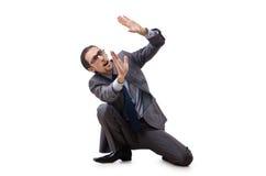Hombre de negocios que empuja lejos problemas virtuales Foto de archivo libre de regalías
