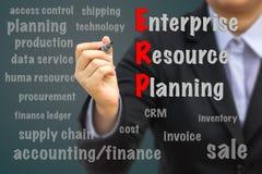 Hombre de negocios que escribe concepto del ERP imagen de archivo libre de regalías
