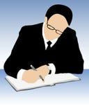 Hombre de negocios que firma un contrato Foto de archivo libre de regalías
