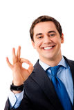 Hombre de negocios que gesticula feliz Fotografía de archivo libre de regalías