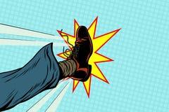 Hombre de negocios que golpea con el pie, pie del arte pop libre illustration
