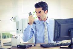 Hombre de negocios que grita como él celebra hacia fuera el teléfono en la oficina Foto de archivo libre de regalías