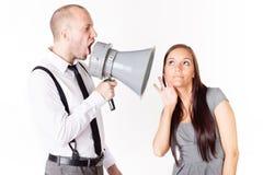 Hombre de negocios que grita en su megáfono Fotos de archivo