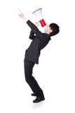 Hombre de negocios que grita en un megáfono Imagenes de archivo