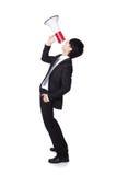 Hombre de negocios que grita en un megáfono Fotografía de archivo libre de regalías
