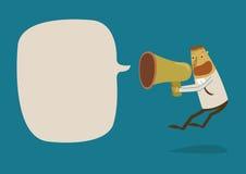 Hombre de negocios que grita un megáfono del altavoz Imagen de archivo libre de regalías