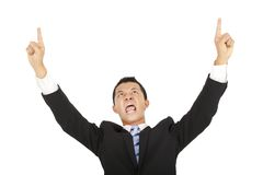 Hombre de negocios que grita y que señala Foto de archivo libre de regalías