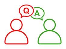 Hombre de negocios que habla con el icono de ruegos y preguntas de la información ilustración del vector