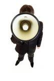 Hombre de negocios que habla en el megáfono Fotos de archivo libres de regalías