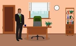 Hombre de negocios que habla en el teléfono en oficina Lugar de trabajo de la oficina Ilustración del vector libre illustration
