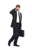 Hombre de negocios que habla en móvil Fotos de archivo libres de regalías
