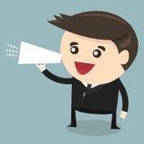 Hombre de negocios que habla a través del megáfono, diseño plano Imagen de archivo