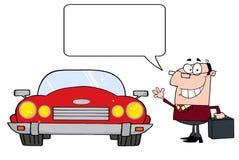Hombre de negocios que habla y coche convertible Imagen de archivo libre de regalías