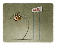 Hombre de negocios que hace la bóveda de polo para saltar la meta stock de ilustración