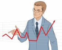 Hombre de negocios que hace la presentación con el gráfico Fotografía de archivo