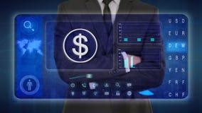 Hombre de negocios que hace un análisis financiero en las pantallas táctiles Dólar de EE. UU., América, USD stock de ilustración