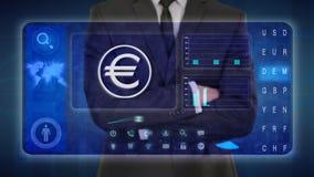 Hombre de negocios que hace un análisis financiero en las pantallas táctiles euro, Europa, EUR stock de ilustración