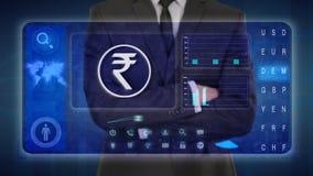 Hombre de negocios que hace un análisis financiero en las pantallas táctiles Rupia india, INR Rs ilustración del vector
