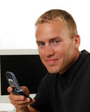 Hombre de negocios que hace una llamada Fotos de archivo libres de regalías